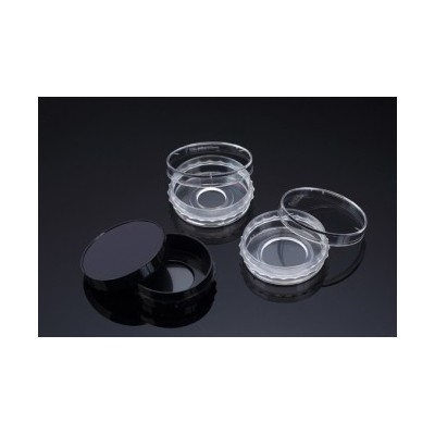 Confocal Dish, Adhesion Type, Black, PS/FLux, 35x10mm, 13Ø , Confocal Region 1.33cm3, external grip, TC treated, Sterile, SPL,