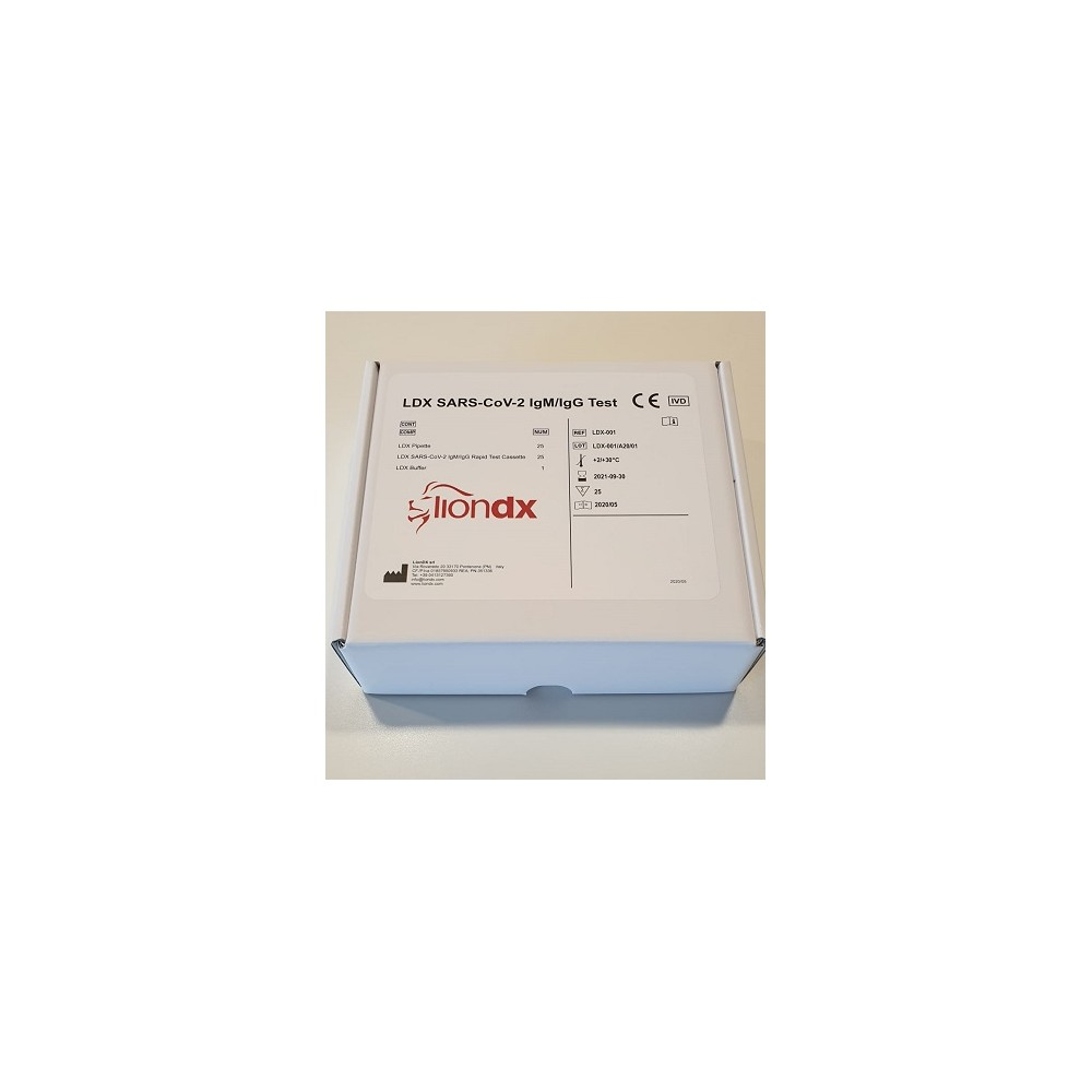 LDX SARS-CoV-2 IgM/IgG Test CE IVD- test kasetkowy przesiewowy do detekcji przeciwciał IGM/IgG przeciwko SARS-CoV-2, 25 testów